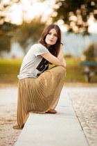 dark khaki chiffon Mango skirt - heather gray cotton Mango shirt