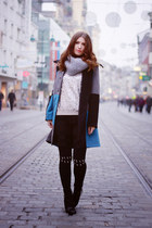 sky blue edgy vintage coat - ivory sequins H&M sweater
