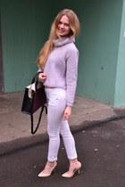 periwinkle Zara sweater - crimson Accessorize bag - nude Incity heels