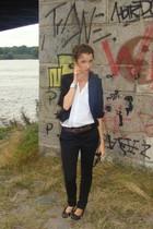white Bershka shirt - black cropped Stradivarius blazer - brown vintage belt