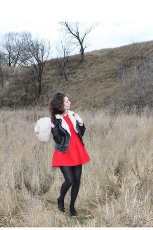 red a-line Zara dress - cream faux fur vintage hat - black Zara jacket