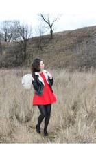 red a-line Zara dress - cream faux fur vintage hat - black Zara jacket