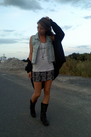 c&amp;a jacket - Zara vest - H&amp;M shirt - H&amp;M dress - sancho boots