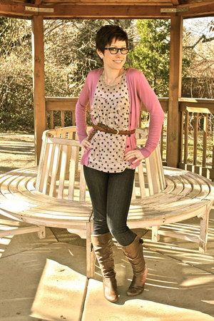 brown eric michael boots - navy AG jeans - ivory Macys blouse