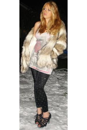 beige H&M coat - silver All Saints top - black Topshop leggings - black Matalan