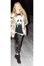 black Topshop leggings - black Matalan boots - beige H&M coat - black Topshop sw