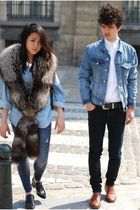 fox fur accessories - Crocodile shoes - Lees shirt - trevi Louis Vuitton bag