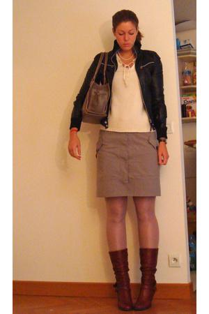 Maje sweater - Comptoir des Cotonniers skirt - Zara jacket - loewe purse