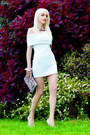 White-oasap-dress-black-karen-millen-bag
