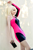 hot pink JENNIKA shoes - hot pink Jane Norman dress - black Jane Norman bag