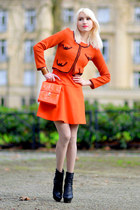 black Valentiono heels - carrot orange Zara dress - carrot orange Forever 21 bag