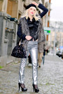 Silver-zara-pants-heather-gray-forever-21-coat-black-guess-bag