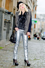 Heather-gray-forever-21-coat-black-guess-bag-silver-zara-pants