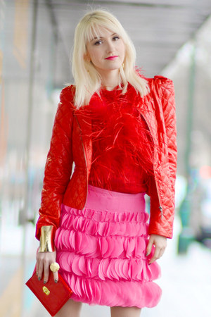 red 123 blazer - hot pink sandro ferrone skirt