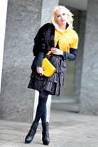 yellow Forever21 bag - black Lipsy dress - black version sud coat
