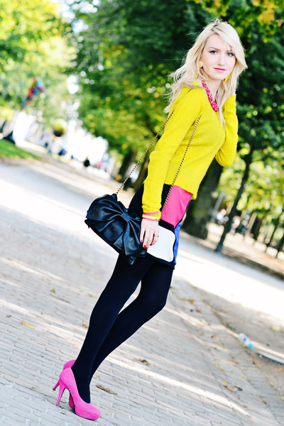 black Valentino bag - yellow Zara blazer - hot pink Jane Norman skirt