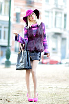 magenta H&M hat - black VERSO dress - magenta Promod coat - black Neuville bag