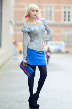 blue Zara skirt - blue H&M bag