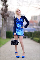 blue Forever 21 dress - black Alysi jacket - black Valentino bag