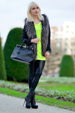 heather gray Forever 21 jacket - chartreuse Coolcat dress