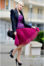 hot pink Alain Manoukian skirt - black Zara jacket