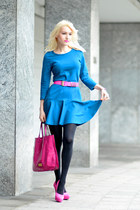 sky blue Zara dress - hot pink Valentino bag - hot pink Versace for H&M belt