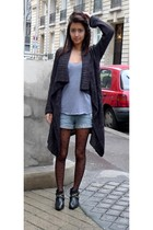 gray Newlook sweater - silver American Apparel shirt - blue Forever 21 shorts -