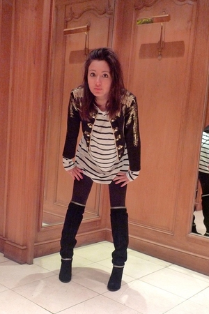 black Mango boots - white Bik Bok dress - black H&M jacket
