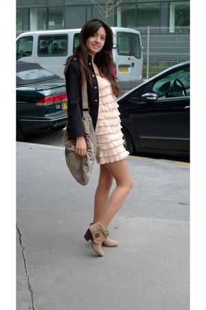 beige La Redoute boots - pink H&M dress - black Zara jacket