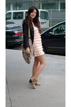 beige La Redoute boots - pink H&M dress - black Zara jacket