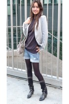 Zara jacket - sweater - Ebay boots - Zadig et Voltaire accessories