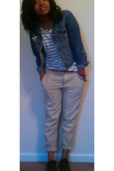 red Forever 21 belt - brown Rack room shoes shoes - blue jean Levis jacket