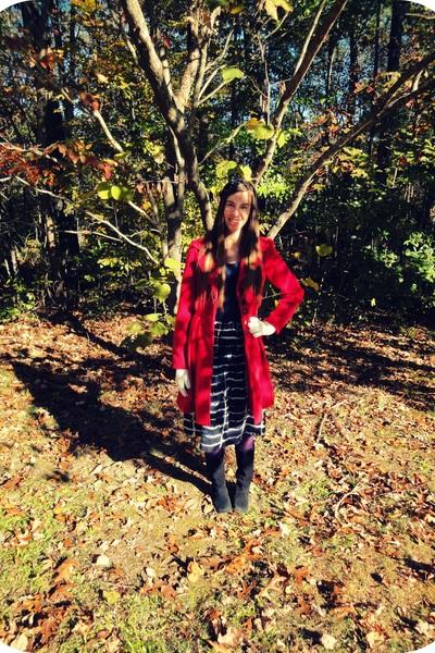 red Kiss coat - navy Forever21 shirt - navy Forever21 skirt - purple Forever21 t