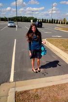 blue Steve Madden accessories - blue Forever21 jacket - black Forever21 dress -