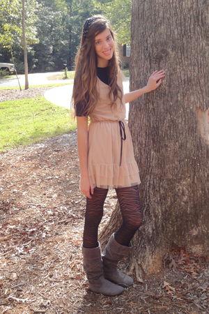 pink Target dress - black tights - black Target shirt - gray boots - black Forev