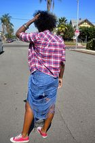 red Heritage 1981 top - blue DIY shirt - blue Heritage 1981 shorts - red Convers
