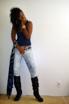 blue Forever 21 intimate - blue Forever 21 jeans - black boots - gray Wet Seal s