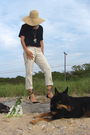 Beige-jcrew-hat-black-madewell-top-beige-pants-black-tommy-hilfilger-shoes