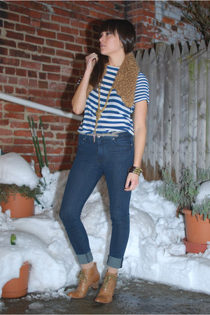 tan Anthropologie boots - blue high waisted Seven jeans - camel alpaca Yarn Over