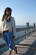 brown vintage scarf - beige madewell top - white modcloth belt - blue pants - wh