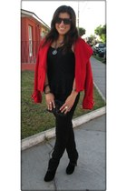 black TODO PIEL boots - red lady dutch jacket - black Pimkie blouse
