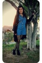 black alaniz boots - black Parfois bag - blue Americanino jumper
