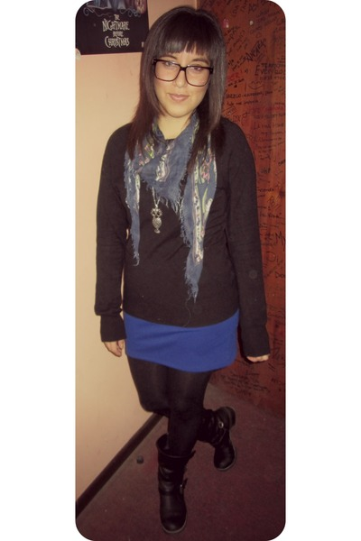 black Skechers boots - black Basement sweater - blue Opposite skirt