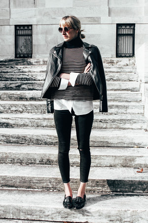 faux leather Forever 21 jacket - skinny asos jeans - knit Mango sweater