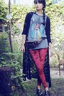 Forest-green-morningthrift-cardigan-sweater-ruby-red-tights-leggings