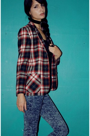 red tartan vintage blazer - acid wash vintage pants