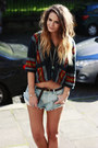 forever 21 Aztec Hoodie top - insight Denim cutoffs shorts