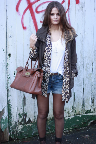 hm shirt - mulberry bag - allsaints denim shorts