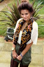 Olive-green-skirt-skirt-top-top-scarf-scarf-watch-accessories