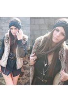 brown faux fur gilet unknown brand vest